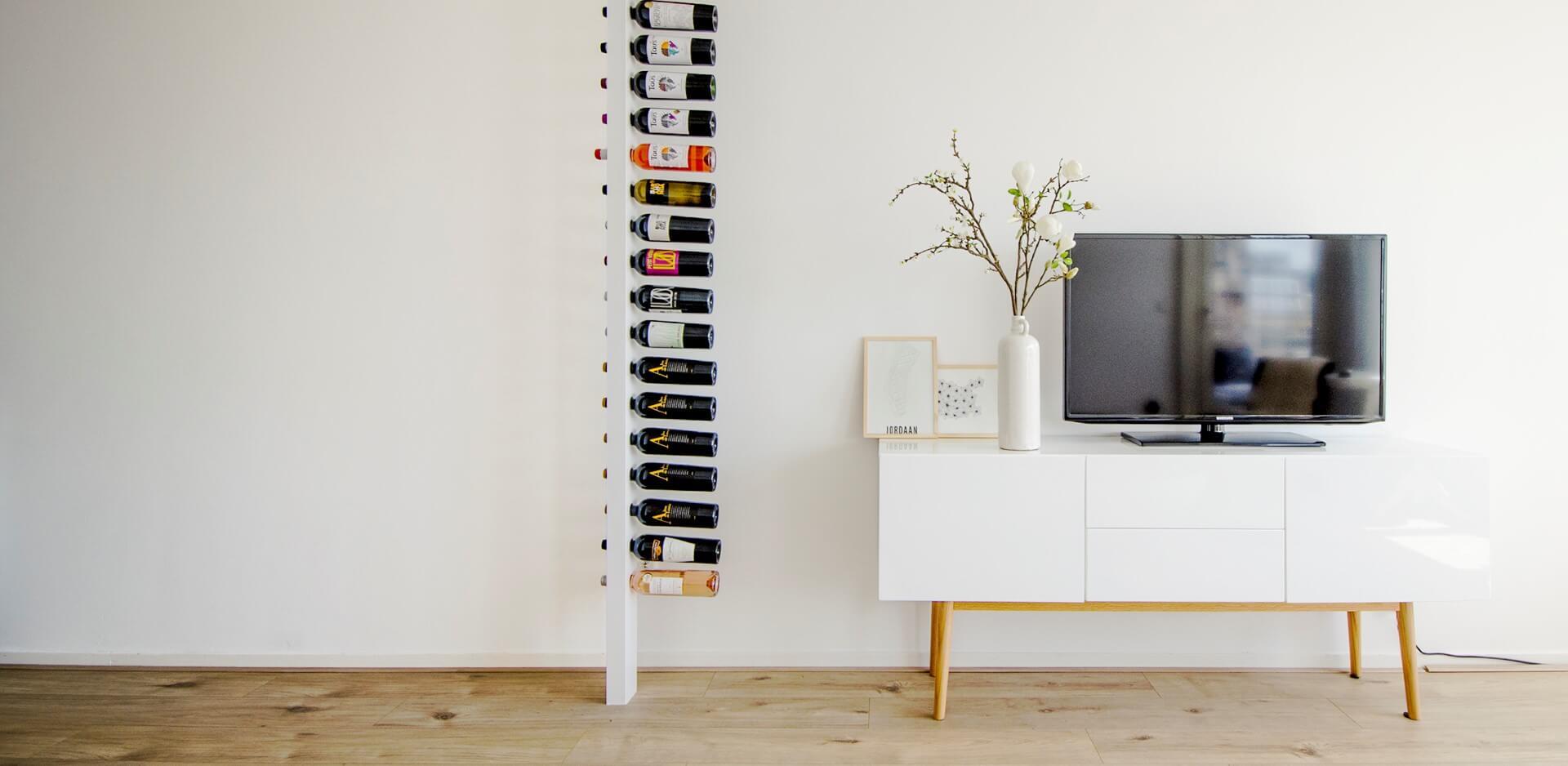 Wijnpaal wijnrek blog tv woonkamer