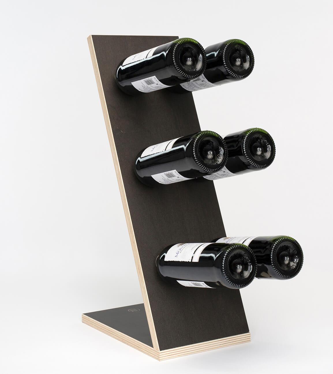 Compact Six Black Wijnrek Zij/Voor aanzicht