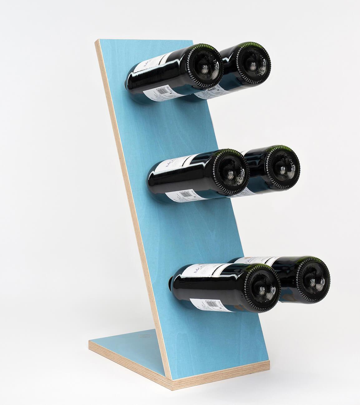 Compact Six Blue Wijnrek Zij/vooraanzicht