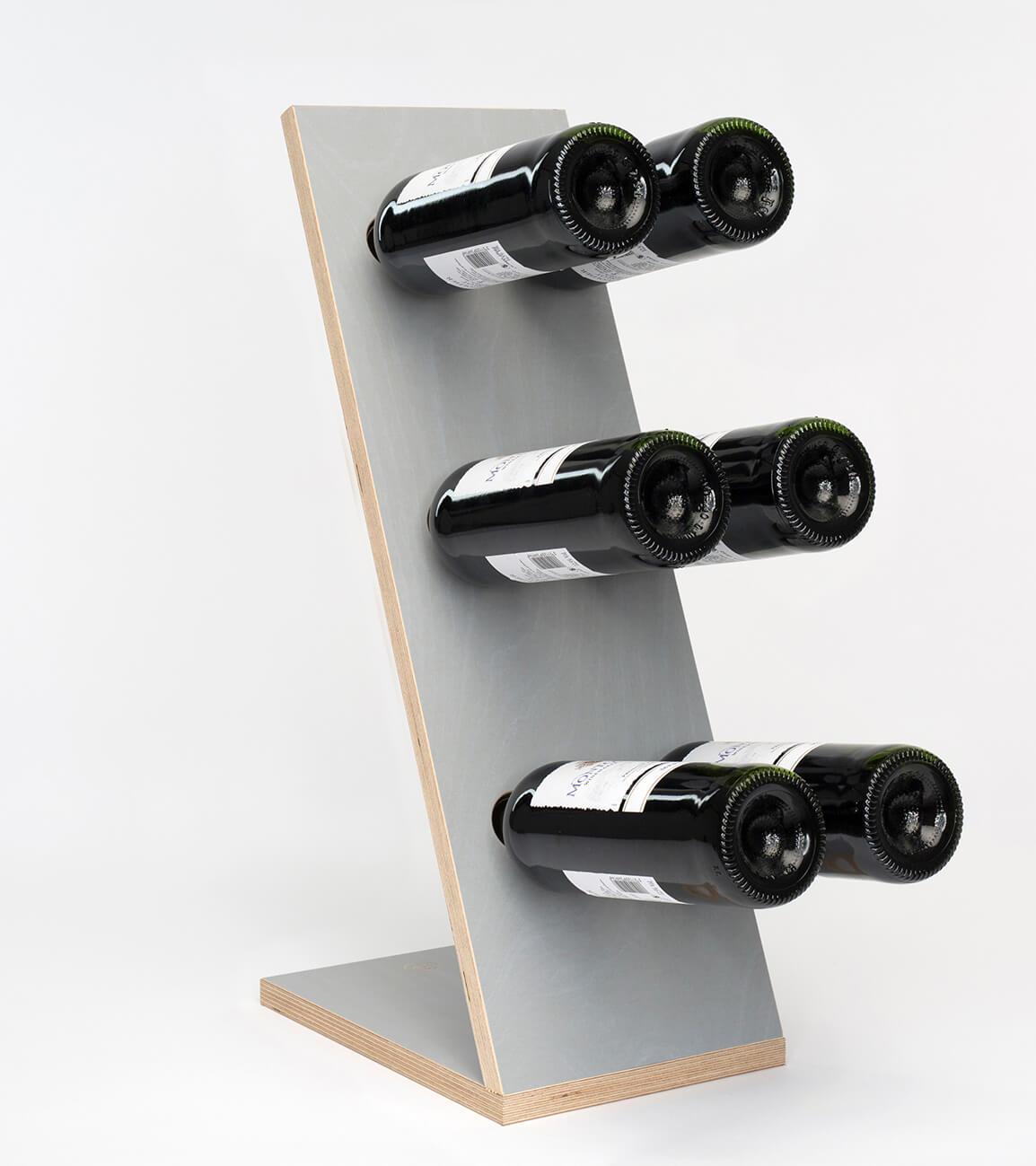 Compact Six Grey Wijnrek Zij/Voor aanzicht