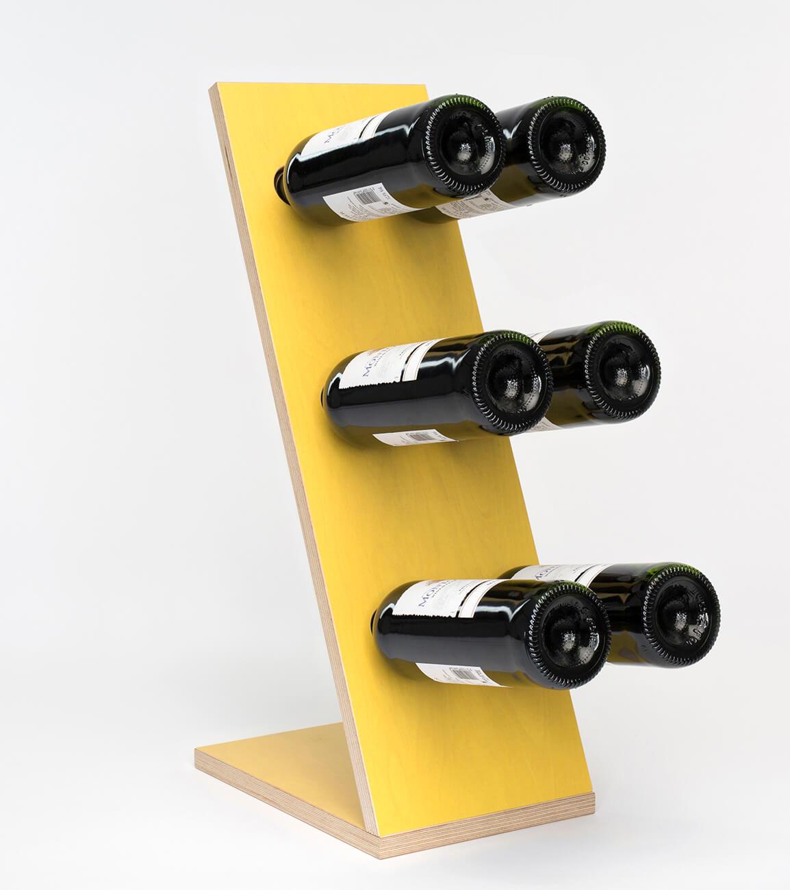 Compact Six Yellow Wijnrek zij/vooraanzicht